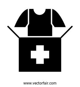 donation box and tshirt icon, silhouette style