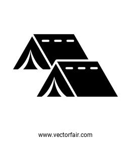 camping tents icon, silhouette style