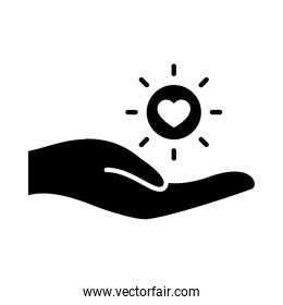 hand and sun with heart icon, silhouette style