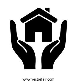 hands with house icon, silhouette style