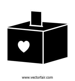 donation box with heart icon, silhouette style