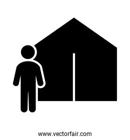 camping tent and pictogram man icon, silhouette style