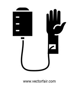 hand with iv bag icon, silhouette style
