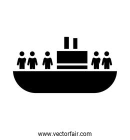 refuge people ship icon, silhouette style