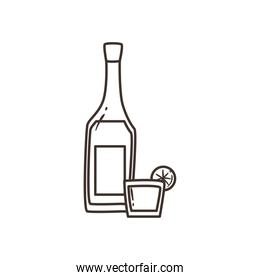 tequila bottle with shot free form line style icon vector design