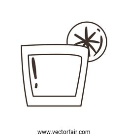 tequila shot with lemon free form line style icon vector design