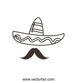mexican hat with mustache free form line style icon vector design