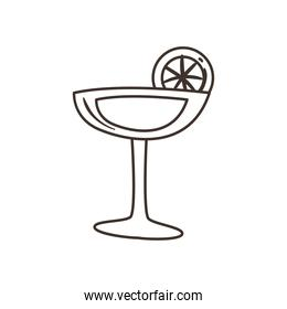 margarita cocktail with lemon free form line style icon vector design