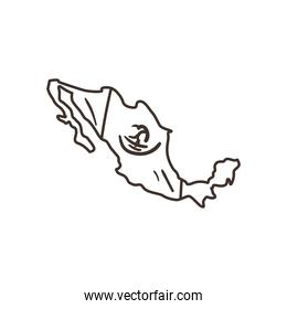 mexican flag in map shaped free form line style icon vector design