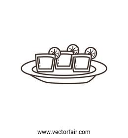 tequila shots with lemon free form line style icon vector design