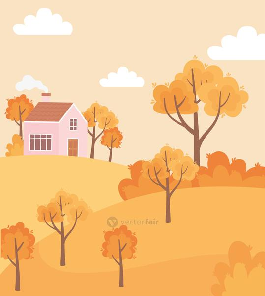landscape in autumn nature scene, countryside house rural trees bushes panoramic