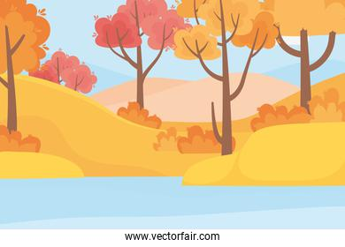 landscape in autumn nature scene, forest trees grass and lake