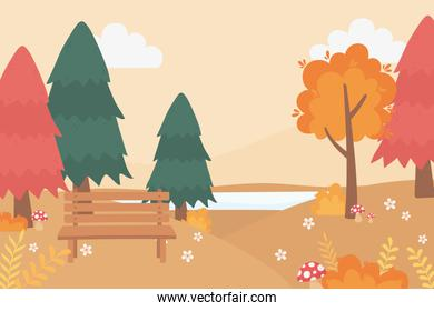 landscape in autumn nature scene, bench park mushroom flowers lake and trees