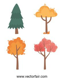 autumnal trees forest foliage nature scene icons set