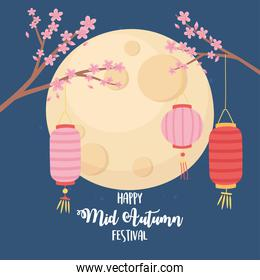 happy mid autumn festival, sakura flowers in branches with lanterns and moon