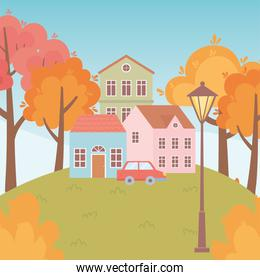landscape in autumn nature scene, houses car trees lamp street in the meadow