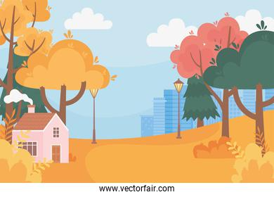 landscape in autumn nature scene, cottage lamp post trees and cityscape background
