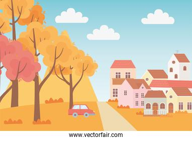 landscape in autumn nature scene, suburban houses car trees grass sky cartoon