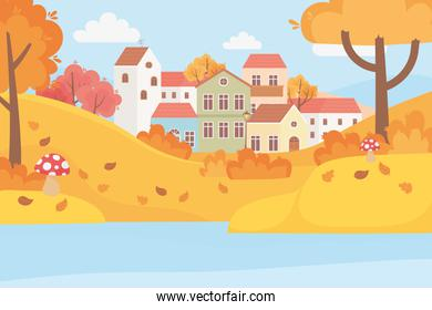 landscape in autumn nature scene, village houses trees leaves mushroom in the grass