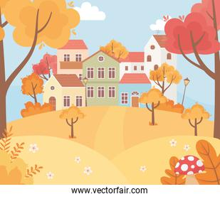 landscape in autumn nature scene, houses trees foliage season cartoon