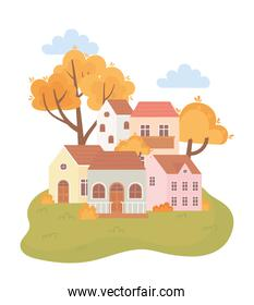 landscape in autumn nature scene, houses cartoon trees leaves bushes cartoon