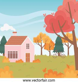 landscape in autumn nature, house with chimney bicycle trees leaves scenery