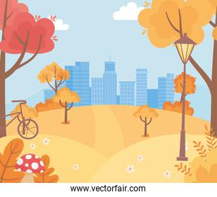 landscape in autumn nature scene, urban cityscape hills bicycle trees foliage