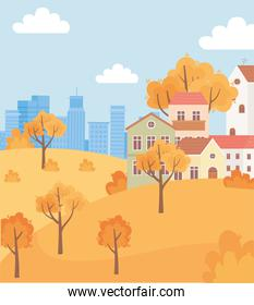 landscape in autumn nature scene, suburban houses in hill trees and urban building background