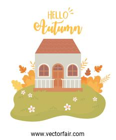hello autumn nature scene, house leaves bush flowers grass landscape cartoon
