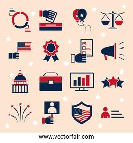 United States elections, political election campaign celebration red and blue flat icons set