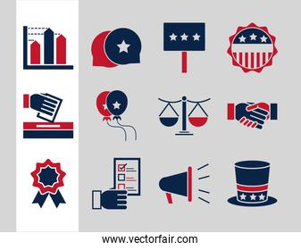 United States elections, political election campaign celebration flat icons collection