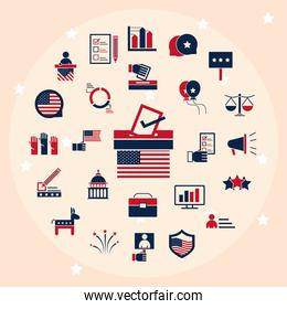 United States elections, political election campaign celebration icons set flat pack