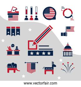 United States elections, political election campaign flat icons set
