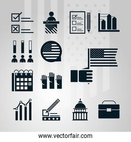 United States elections, political election campaign celebration silhouette icons set