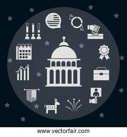 United States elections, political election campaign celebration silhouette icons collection