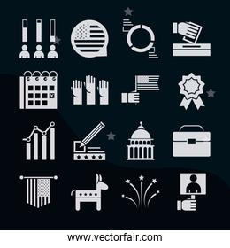 United States elections, political election campaign silhouette icons set