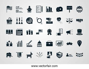 United States elections, campaign collection politics symbol with elements silhouette style