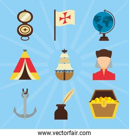 Columbus day and compass icon set, flat style