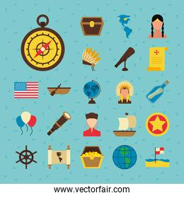 usa flag and Happy colombus day icon set, flat style