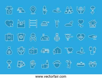 refugee people icon set, line style