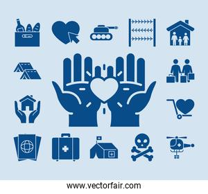 hands and humanitarian help icon set, silhouette style