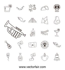 mexican trumpet and free form line style icon set vector design