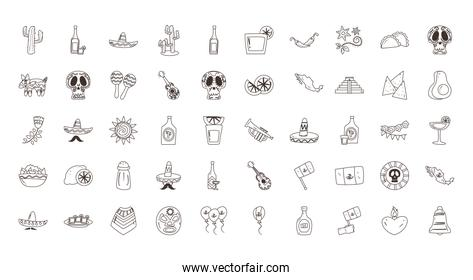 mexican free form line style 50 icon set vector design
