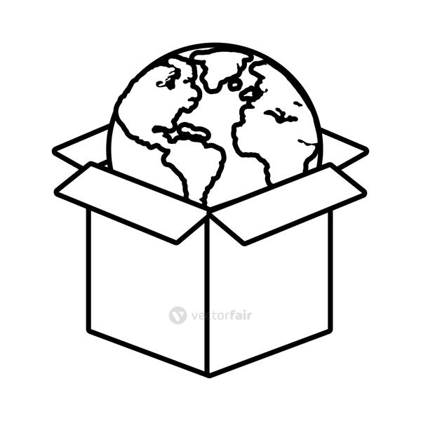world planet earth in box line style icon