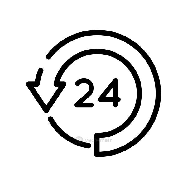 24 hours with arrow around line style icon