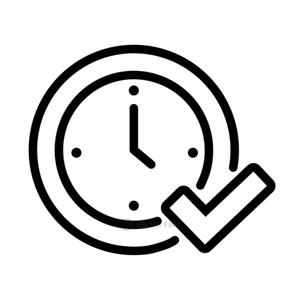 time clock with check symbol line style icon