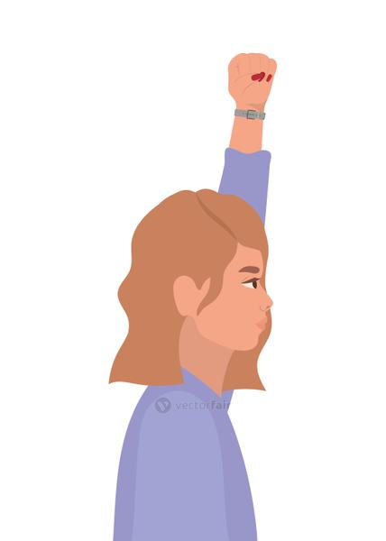 woman cartoon with brown hair and fist up in side view vector design