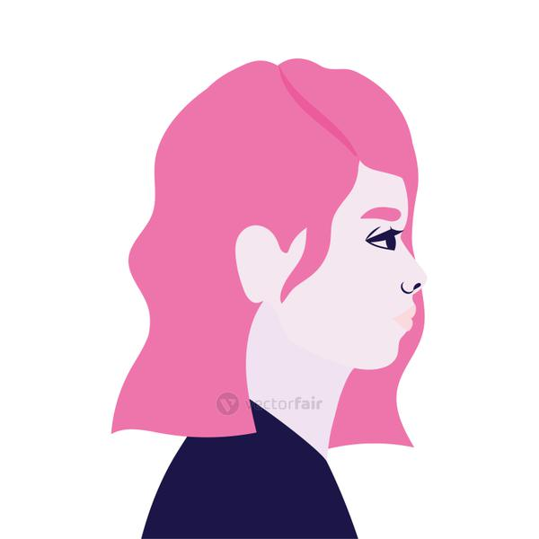 woman cartoon in side view in pink color vector design