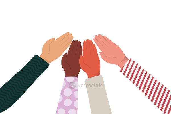 hands touching each other of different types of skins vector design