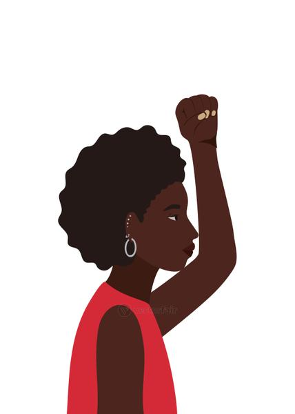 black and afro woman cartoon and fist up in side view vector design